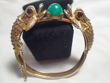 VINTAGE ESTATE  FOO DRAGON FISH HEAD BRACELET JADE CABOCHON  UNIQUE BEAUTY