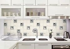 Fine Decor FD13032 Luxury Kitchen Tile Effect Vinyl Wallpaper Black/White/Silver