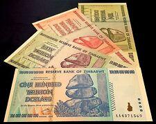 ZIMBABWE $10 + $20 + $50 + $100 Trillion banknote set. UNCIRCULATED / MINT