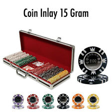New 500 Coin Inlay 15g Clay Poker Chips Set Black Aluminum Case - Pick Chips!