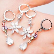 Wholesale 2 Pieces/Lot White Gold Filled Drop Earrings Colorful Cubic Zircon