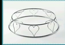 "/ Heart Wire Round Cake Stand Wedding 14"" New Silver"