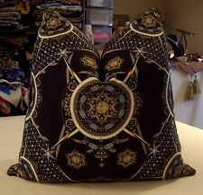 ONE AUTHENTIC VERSACE BAROQUE ITALIAN SILK SATIN CUSTOM PILLOW W/ SCALAMANDRE