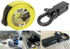 "2"" D-Ring Hitch Receiver + 30' X 4"" Tow Recovery Strap Offroad New Free Shipping"