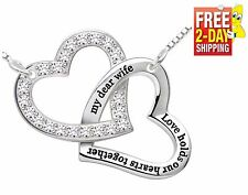 Sterling Silver Necklace Gift for Wife Love Hearts Pendant Birthday Anniversary