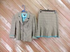 XOXO Collection Skirt Suit 2 Piece Skirt/Jacket Black/Teal Plaid Women's Size 3