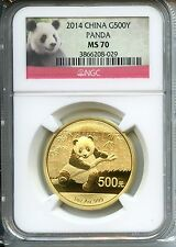 CHINA  PANDA 2014  NGC MS 70  500YUAN  GOLD 1 OZ