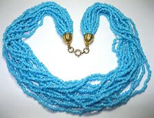 Pretty VINTAGE TURQUOISE GLASS Seed BEAD 15 Row Costume Jewellery NECKLACE
