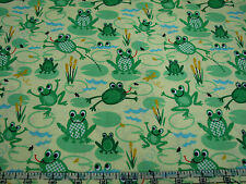3 Yards Organic Cotton Fabric - Timeless Treasures Cute Frogs Lilypads on Yellow
