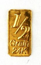 1/2 Gn(NOT GRAM)GOLD BAR OF 24K PURE .999 FINE GOLD STRATEGIC BULLION A1c