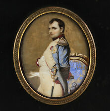 Continental Hand Painted Miniature Portrait of Napoleon Bonaparte Signed 19th C.