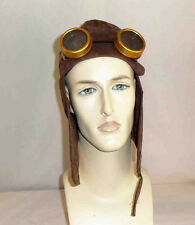 Unisex Steampunk Sci-Fi  Brown Faux Suede Aviator Helmet with Brown Goggles