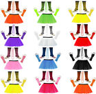 FANCY DRESS HEN PARTY COSTUME SET NEON UV FLO TUTU SKIRT LEG WARMER GLOVES BEADS