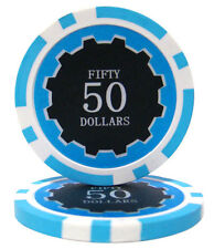 50 Light Blue $50 Eclipse 14g Clay Casino Poker Chips New