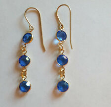 Swarovski Elements 10K Gold Plated Dangle Earrings Blue Crystal Stones 2in long