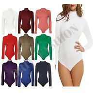 Womens Ladies LONG SLEEVE Turtle POLO NECK BODYSUIT Leotard Top