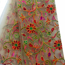 2.5 mtr beige net fabric with multicolour kutch embroidery for kurti, dupatta