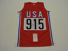 CARL LEWIS autographed signed USA Track Olympics red Jersey JSA Witness WP093187