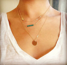 New Gold Alloy Charm Long Chain Sequin Chain Beads Round Pendant Necklace Gift