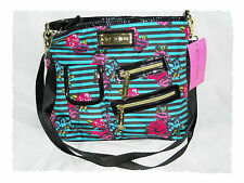 Betsey Johnson Rose By The Foot Teal Striped Floral 80'S Style Crossbody Purse