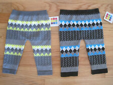Girl NEON YELLOW BLUE GRAY PATTERN TEXTURE FOOTLESS TIGHTS LEGGINGS 12m 18m 24m