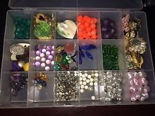 Lot Mixed Beads Jewelry Pieces 17 Compartment Case Crafts Art Collectibles