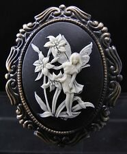 Antiqued Gold Plated Garden Fairy Cameo Brooch Pin
