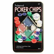 New Professional Poker Chips Set Of 100 Chips IN A TIN CASE Pocker Chips 100 PCs