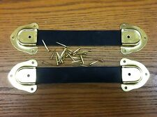 Antique Trunk Hardware-2 Leather Trunk Handles-4 Metal Ends-Nails-llkk