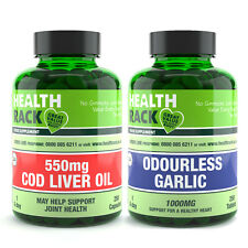 Cod Liver Oil Supplement 550mg 250s + Odourless Garlic 250s || Bundle Offer ||