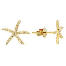 14K YELLOW GOLD MICRO PAVE DIAMOND STARFISH SEA STAR FISH STUD EARRINGS