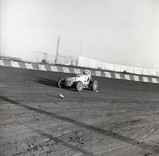 Action Shot of Car on Dirt Track - 1960s USAC ?? - Original B&W 120mm Race Slide