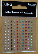 Kanban Pack Of 100 Self Adhesive Bling Stones 3mm Various Colours