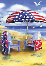 "Patriotic Beach Summer Garden Flag Adirondack Chairs Nautical 12.5"" x 18"""