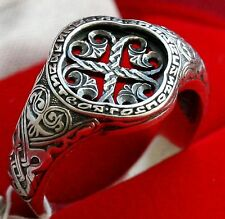 XVII C. STYLE ORTHODOX SILVER RING w/ CROSS. NEW. PRAYER RING. CHRISTIAN GIFT.