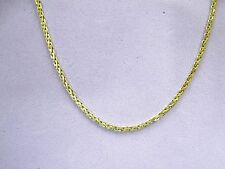 """LQQK real 14K yellow GOLD Wheat CHAIN necklace 25.75"""" LONG Unisex"""