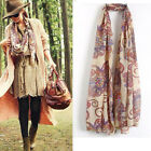 New Womens Chiffon Floral Print Long Neck Scarf Winter Shawl Scarves Stole Wraps