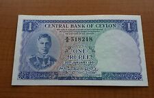 CENTRAL BANK OF CEYLON ONE RUPEE BANKNOTE KGVI SERIES 'A' 1951 VERY RARE XF/AUNC