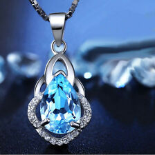 Crystal Topaz Pendant 925 Sterling Silver Necklace Chain Women Jewelry Valentine