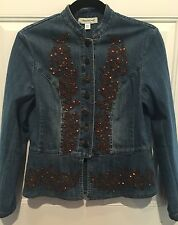 Coldwater Creek Embellished Copper Blue Denim Jacket Peplum PXS Chest 38""
