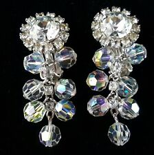 Unsigned Designer Vtg Clip Earrings AB Crystal Dangle Pave Rhinestone Flower N82