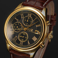 Kronen & Söhne Brown Leather Band Day & Date Display Men's Automatic Wrist Watch