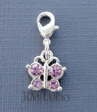 Pendant Pink Butterfly Clip On Charm for Link Chain, floating locket C150