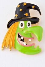 HALLOWEEN HAPPY GREEN WITCH WITH WITCHES HAT BROOCH PENDANT