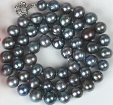 New Fashion 7-8mm Black Color Cultured Freshwater Pearl Necklace 18""