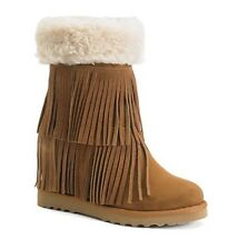 NEW Steve Madden Girl Leather Sleet Brown Cognac Tan Fur Fringe Boot Women's 8