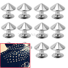 100pcs 10mm Silver Metal Bullet Studs Rivets Spikes Punk Bag Belt Leathercraft