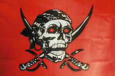 CRIMSON PIRATE SKULL FLAG #300 pirates flags banners 3 x 5 wall decoration 3x5