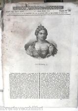 ANTICA STAMPA INCISIONE 1844 Caterina I di Rusia Sistema universale Southwark di