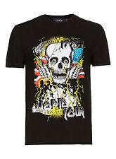 BNWT Topman Black Halloween Skulls Biker 100% Cotton T-Shirt, Size S, RRP £18